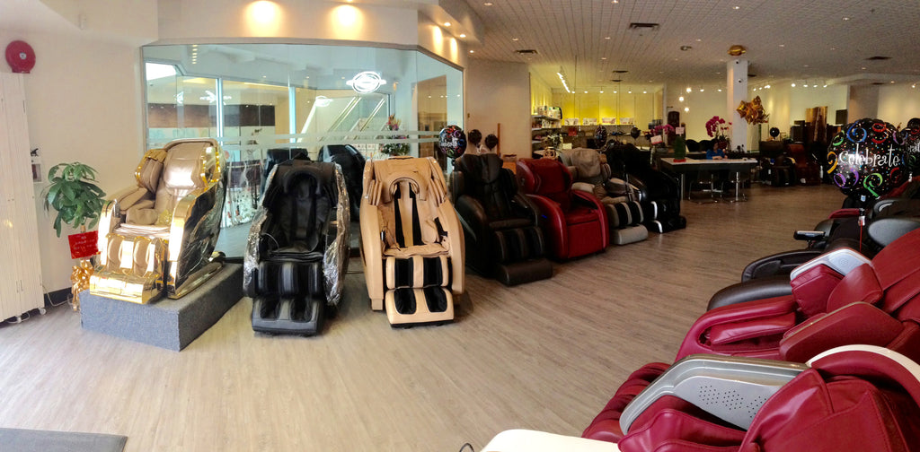 20+ massage chairs on the floor