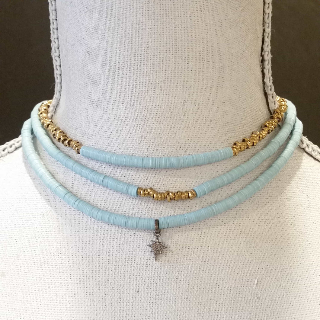 Light blue African Vinyl Chokers - Michelle Rhodes handmade mindful jewelry