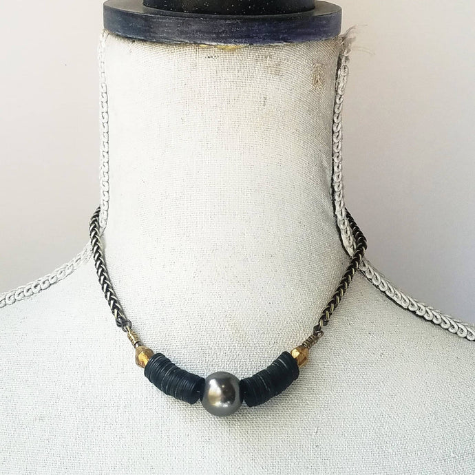Grey pearl statement necklace - Michelle Rhodes handmade mindful jewelry