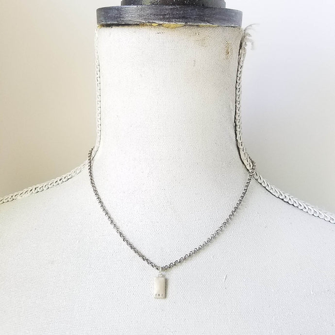 Tiny modern rectangle sterling and diamond layering necklace