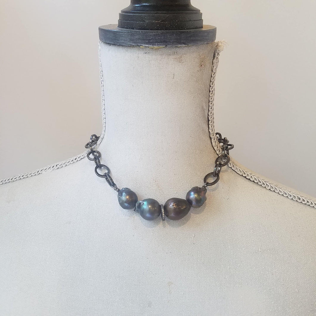 Baroque pearl choker - Michelle Rhodes handmade mindful jewelry
