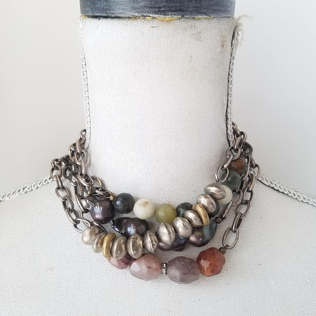 Chunky beaded chokers - Michelle Rhodes handmade mindful jewelry