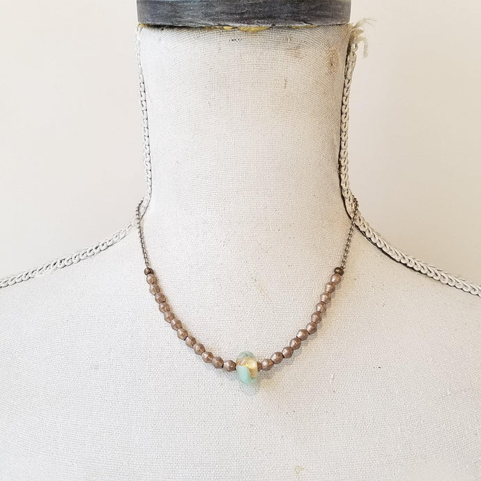 Gold leaf glass bead necklace - Michelle Rhodes handmade mindful jewelry