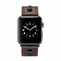 Marzi Poco Premium Quality Leather Watch Strap for Apple Watch Series 1 ,2 & 3 only (Not for Series 4)  ( Crazy Horse Brown, Knight Skull) - 42mm in stock only