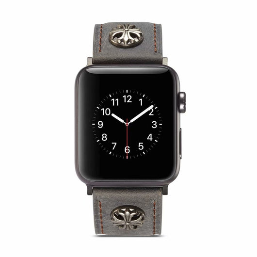 Marzi Poco Premium Quality Leather Watch Strap for Apple Watch Series 1 ,2 & 3 only (Not for Series 4) ( Silver Grey, Knight Star) - 42mm in stock only