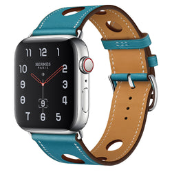 Marzipoco Sport Watch Strap Compatible with Apple Watch Band 38mm 40mm 42mm 44mm, Soft Leather Sport Band Wrist Strap Replacement for iWatch All Series, Nike+, Sport,Edition (Blue)