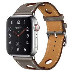 Marzipoco Sport Watch Strap Compatible with Apple Watch Band 38mm 40mm 42mm 44mm, Soft Leather Sport Band Wrist Strap Replacement for iWatch All Series, Nike+, Sport,Edition (Grey)