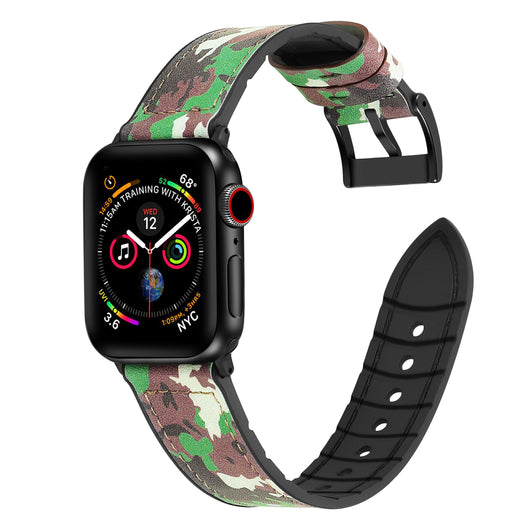 Marzipoco Hybrid Rubber & Genuine Leather Sports Band Compatible with Apple Watch Bands, Sweat Proof Silicone, Replacement Straps Apple Watch Series 4 and Series 3/2/1 (Camouflage Green)