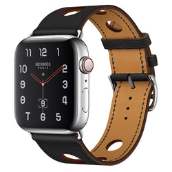 Marzipoco Sport Watch Strap Compatible with Apple Watch Band 38mm 40mm 42mm 44mm, Soft Leather Sport Band Wrist Strap Replacement for iWatch All Series, Nike+, Sport,Edition (Black)
