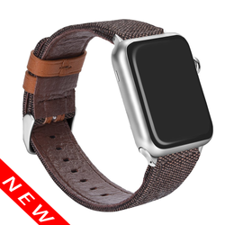 Marzi Poco Watch Band Genuine Leather & Canvas Fabric Adjustable Replacement Bands With Metal Buckle Accessories for Apple Watch Series 3 & Series 1 Series 2 Edition (Brown, 42) - Premium leather Apple Watch Band,   - Premium leather Apple Watch Band, marzipoco - Marzi Poco, marzi poco  - Marzi Poco