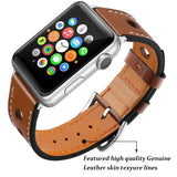 Marzipoco Sport Watch Strap Compatible with Apple Watch Band 38mm 40mm 42mm 44mm, Soft Leather Sport Band Wrist Strap Replacement for iWatch All Series, Nike+, Sport,Edition (Brown)