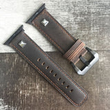 Marzi Poco Premium Quality Leather Watch Strap for Apple Watch Series 1 ,2 & 3 only (Not for Series 4) ( Crazy Horse Brown - Square) - 42mm in stock only