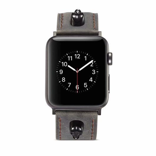 Marzi Poco Premium Quality Leather Watch Strap for Apple Watch Series 1 ,2 & 3 only (Not for Series 4) ( Silver Grey, Knight Skull) - 42mm in stock only