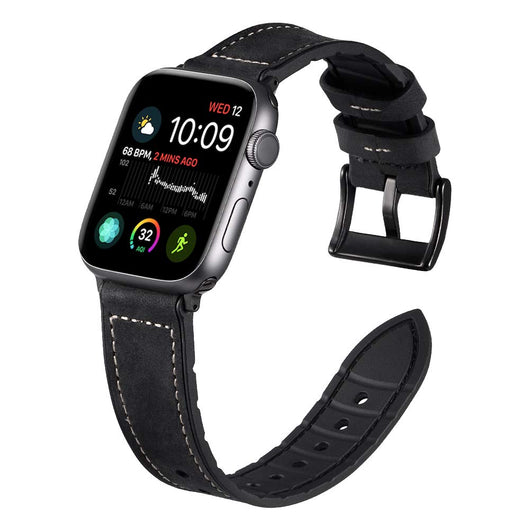 Marzipoco Hybrid Rubber & Genuine Leather Sports Band Compatible with Apple Watch Bands, Sweat Proof Silicone, Replacement Straps Apple Watch Series 4 and Series 3/2/1 (Frosted Black)