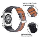 Marzi Poco Watch Band Genuine Leather & Canvas Fabric Adjustable Replacement Bands With Metal Buckle Accessories for Apple Watch Series 3 & Series 1 Series 2 Edition (Grey, 42) - Premium leather Apple Watch Band,   - Premium leather Apple Watch Band, marzipoco - Marzi Poco, marzi poco  - Marzi Poco