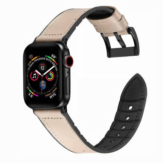 Marzipoco Hybrid Rubber & Genuine Leather Sports Band Compatible with Apple Watch Bands, Sweat Proof Silicone, Replacement Straps Apple Watch Series 4 and Series 3/2/1 (Khaki)