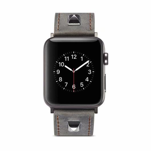 Marzi Poco Premium Quality Leather Watch Strap for Apple Watch Series 1 ,2 & 3 only (Not for Series 4) ( Silver Grey - Square) - 42mm in stock only