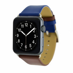 Marzi Poco Premium Leather Watch Strap with Metal Clasp for Apple Watch All Series (Blue & Brown)