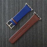 Marzi Poco Premium Leather Watch Strap with Metal Clasp for Apple Watch Series 1, 2, 3 & 4 (Blue & Brown)