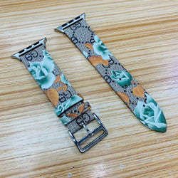 Marzipoco Luxury Leather Watch Band Strap Elegant Blooms Print Wristband Dressy Bracelet Compatible with 44mm, 42mm, 40mm, 38mm Apple Watch All Series (Gray Green)