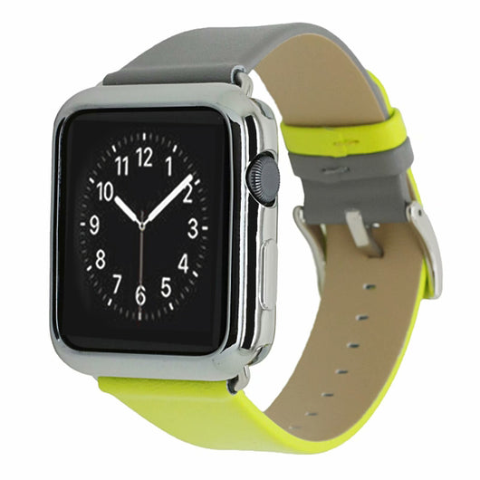 Marzi Poco Premium Leather Watch Strap with Metal Clasp for Apple Watch Series 1, 2, 3 & 4 (Grey & Lemon Yellow)