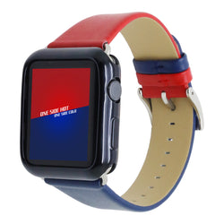 Marzi Poco Premium Leather Watch Strap with Metal Clasp for Apple Watch All Series (Red & Blue)