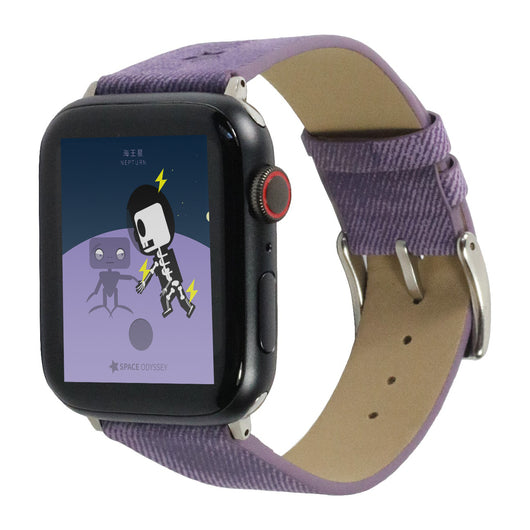 Marzi Poco Space Odyssey Premium Leather Watch Strap for Apple Watch Series 1, 2, 3 & 4 (Purple)
