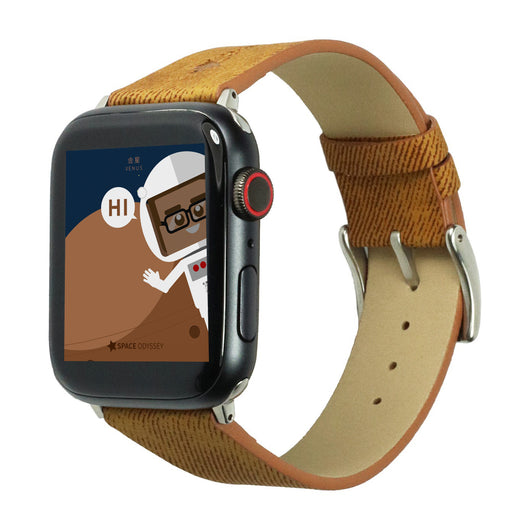 Marzi Poco Space Odyssey Premium Leather Watch Strap for Apple Watch All Series (Brown)