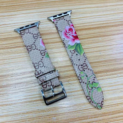 Marzipoco Luxury Leather Watch Band Strap Elegant Blooms Print Wristband Dressy Bracelet Compatible with 44mm, 42mm, 40mm, 38mm Apple Watch All Series (Khaki Pink)