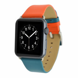 Marzi Poco Premium Leather Watch Strap with Metal Clasp for Apple Watch All Series (Orange & Green)