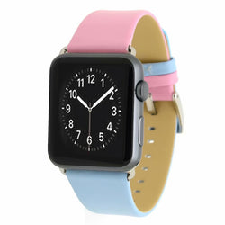 Marzi Poco Premium Leather Watch Strap with Metal Clasp for Apple Watch All Series (Pink & Blue)