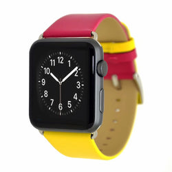 Marzi Poco Premium Leather Watch Strap with Metal Clasp for Apple Watch All Series (Burgundy Red & Yellow)