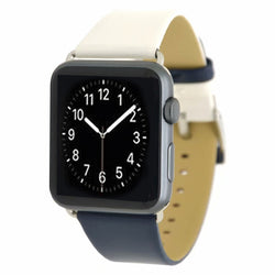 Marzi Poco Premium Leather Watch Strap with Metal Clasp for Apple Watch All Series (White & Deep Blue)