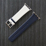 Marzi Poco Premium Leather Watch Strap with Metal Clasp for Apple Watch Series 1, 2, 3 & 4 (White & Deep Blue)