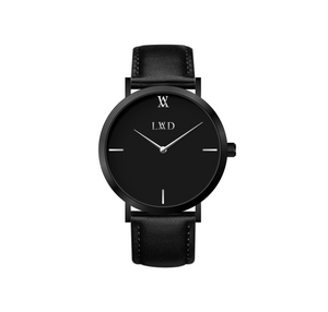 black case with black dial minimalist unisex watch