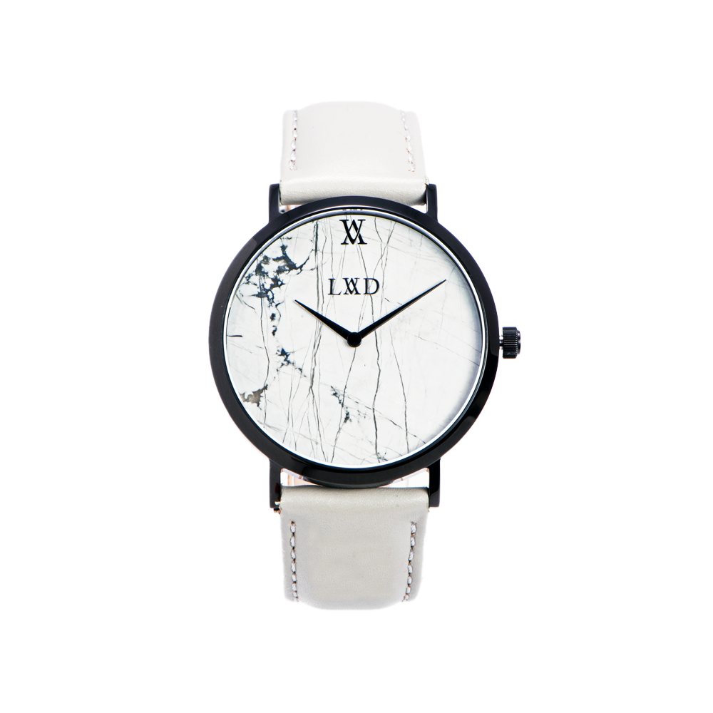 white Marble with black case watch and grey leather strap