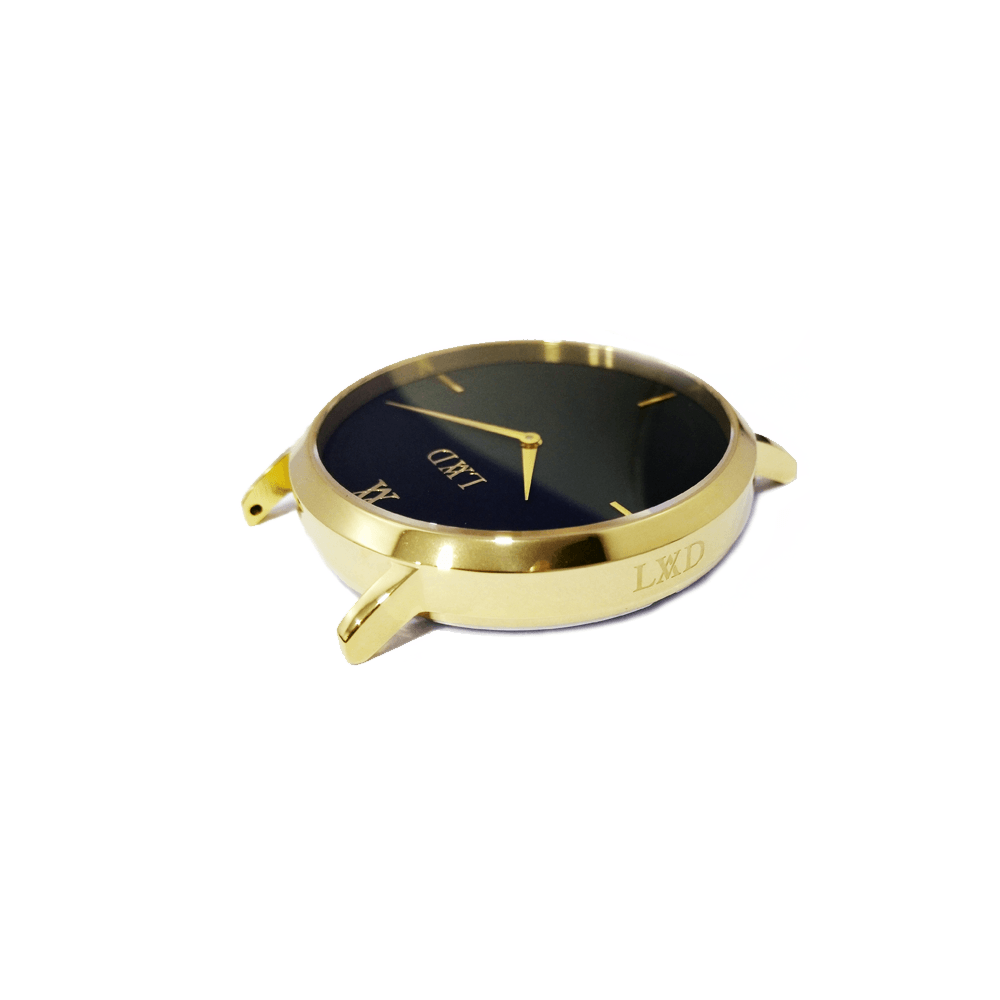 gold minimalist watch with black dial