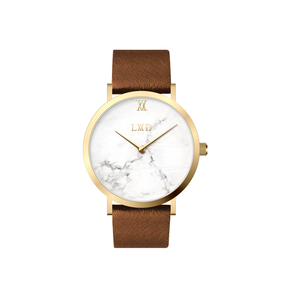 gold case with white marble dial watch with brown strap