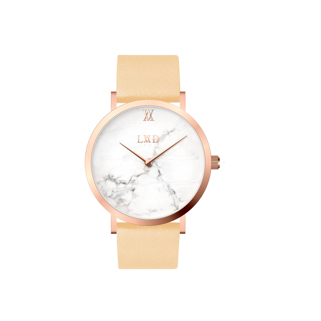 white Marble with rose gold case watch and tan leather strap