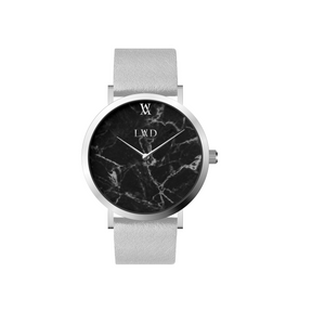 silver case with black marble dial watch with grey strap