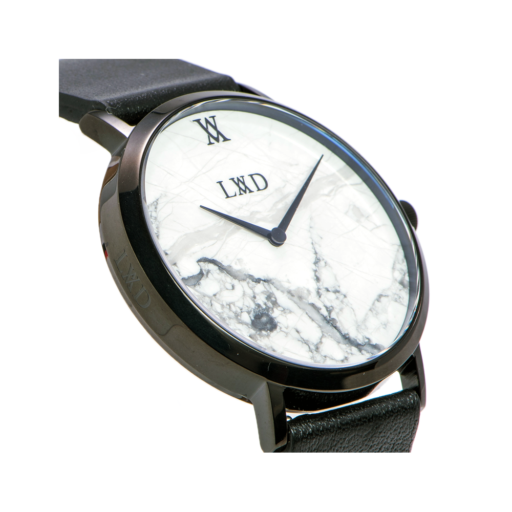 laud watch black logo dial side white watches leather real smaller featuring with case minimalist engraving marble strap products