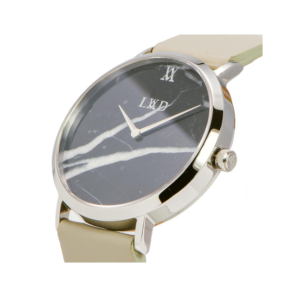silver case with black marble dial watch with grey strap and monogram side crown logo engraving