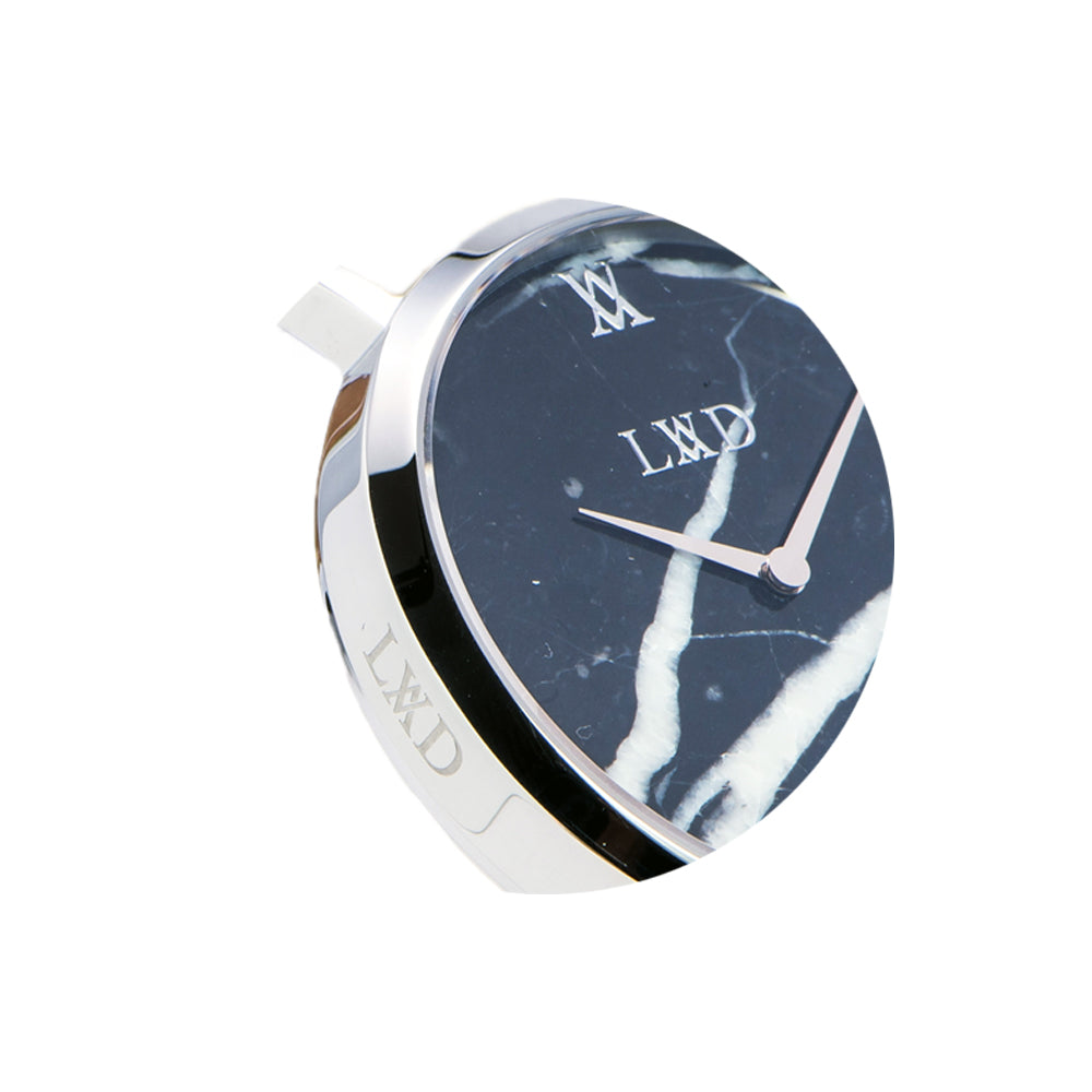 Real black marble silver minimalist watch with silver stainless steel mesh strap closeup