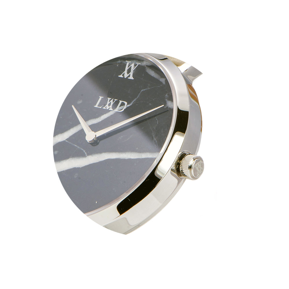 Real black marble silver minimalist watch with silver stainless steel mesh strap closeup crown