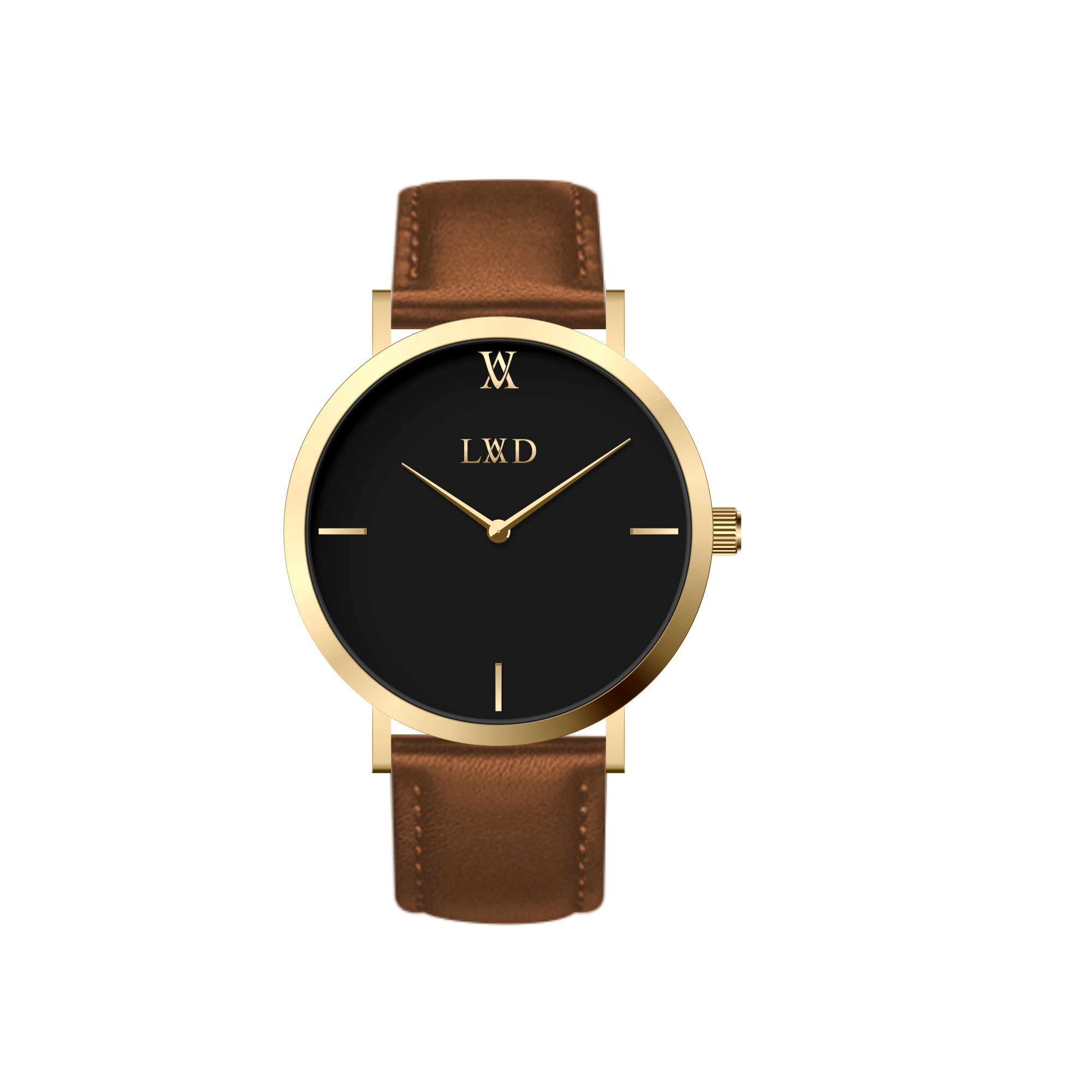 gold case with black dial minimalist unisex watch with brown strap