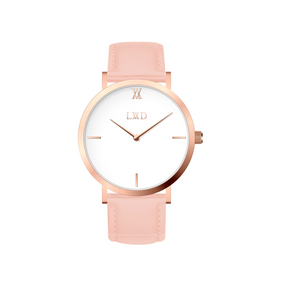 rose gold case with black dial minimalist unisex watch with nude pink strap