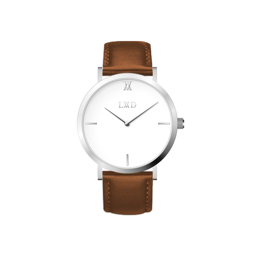 Minimal Silver watch with white dial and brown leather strap