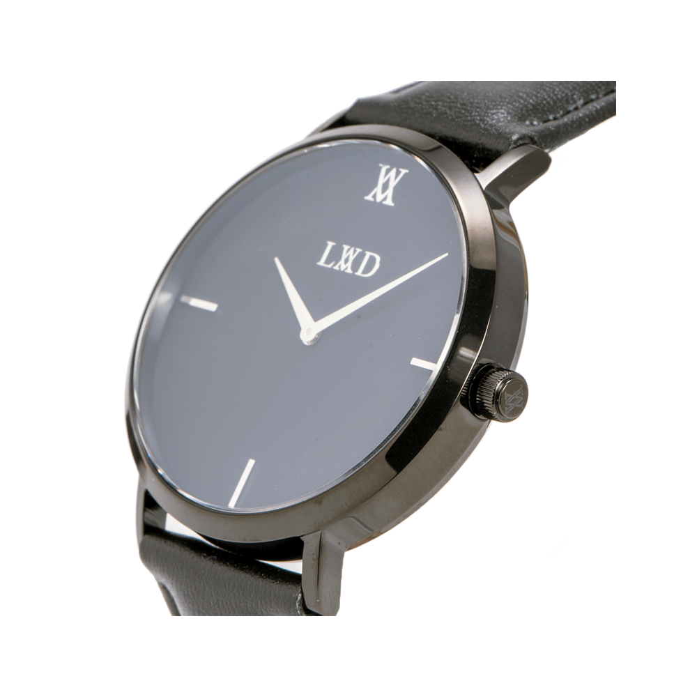 black case with black dial minimalist unisex watch with monogram side Crown engraving