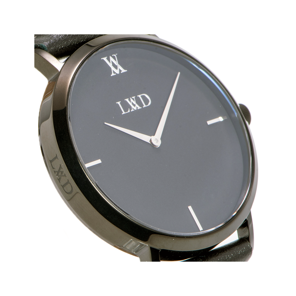 black case with black dial minimalist unisex watch with monogram side logo engraving