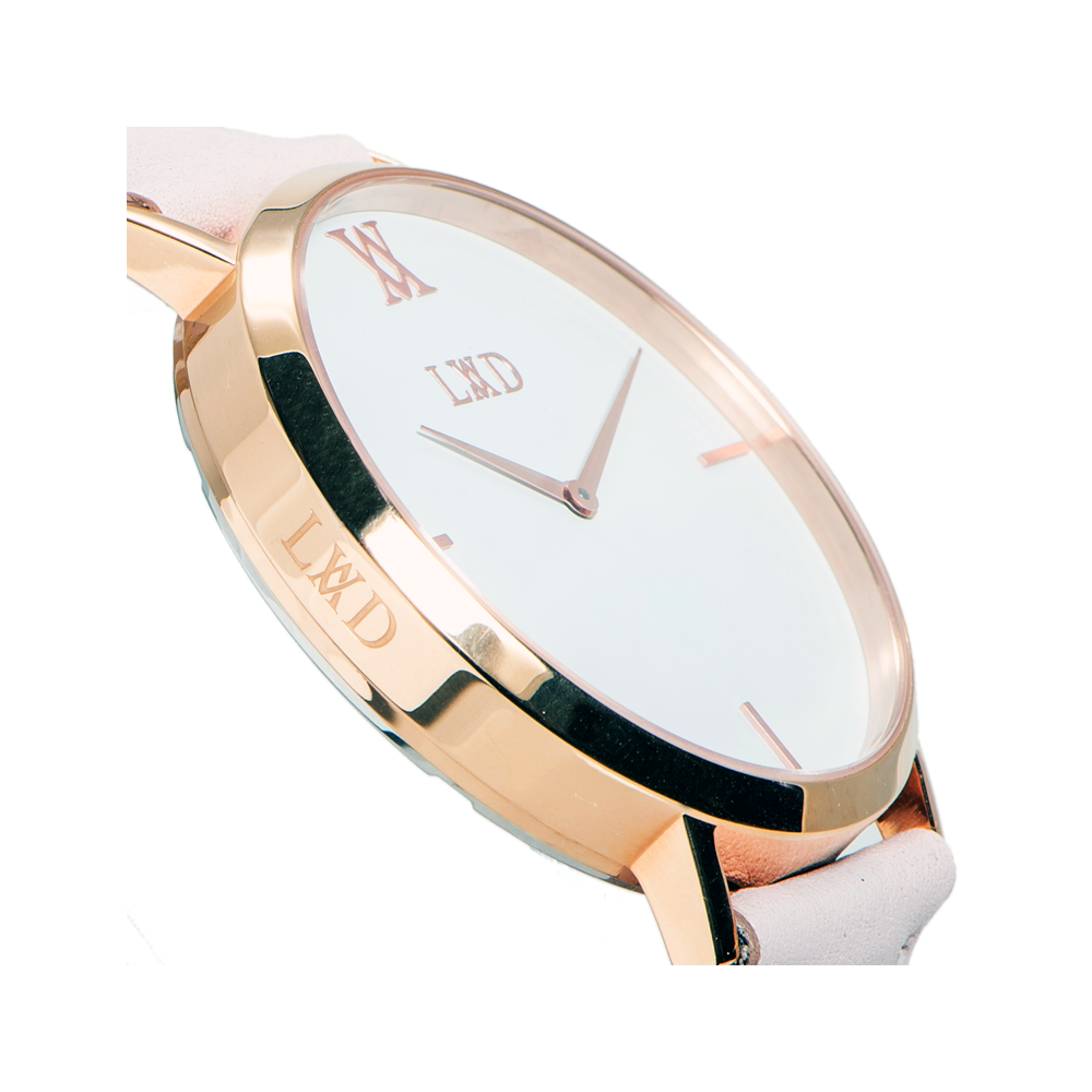 rose gold case with black dial minimalist unisex watch with nude pink strap with monogram side logo engraving